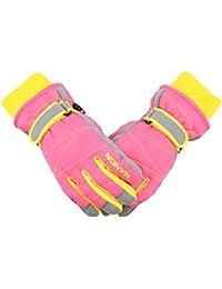 TRIWONDER Ski Gloves for Kids - Waterproof Snowboard Winter Warm Gloves Thermal Fleece Snow Gloves for Boys Girls (Pink, M (9-14 years old))