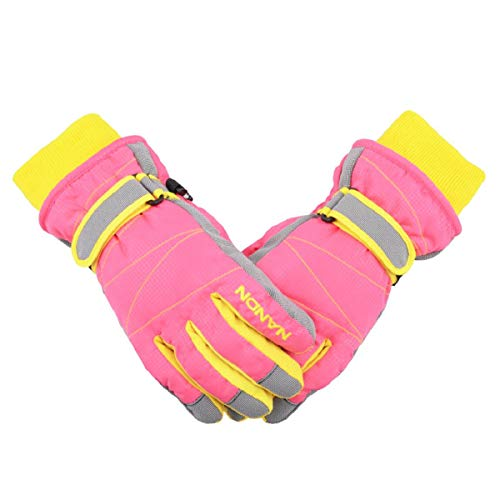 TRIWONDER Ski Gloves for Kids - Waterproof Snowboard Winter Warm Gloves Thermal Fleece Snow Gloves for Boys Girls (Pink, S (7-8 years old))
