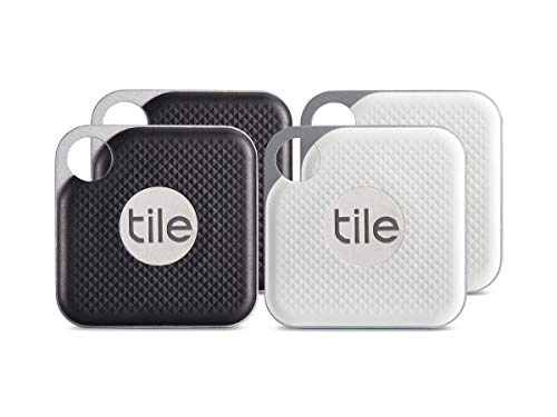 (Tile Pro with Replaceable Battery - 4 pack (2 x Black, 2 x White))
