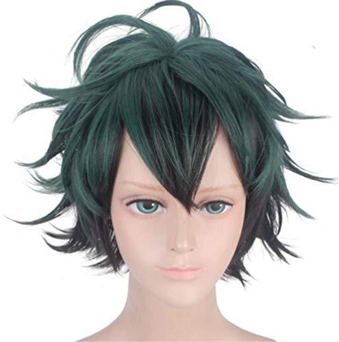 Short Green Wigs for Midoriya Izuku, Short Fluffy Boy Male Full Anime Cosplay Hair Wigs with Free Hair Cap- wig025 ()