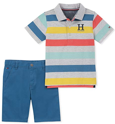 Tommy Hilfiger Baby Boys 2 Pieces Polo Shorts Set, Multi Stripes 3-6 Months