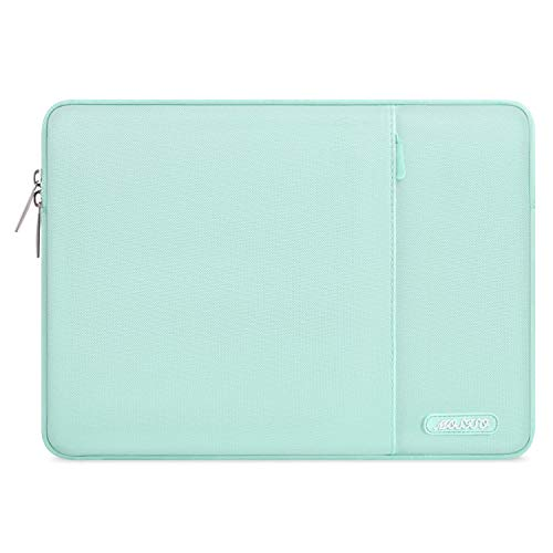 MOSISO Laptop Sleeve Bag Compatible with 13-13.3 inch MacBook Pro, MacBook Air, Notebook Computer, Water Repellent Polyester Vertical Protective Case Cover with Pocket, Mint Green