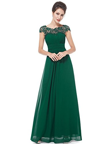 A-line Jewel Neck (HUAN 2018 New Women's Evening Dress/A-Line Jewel Neck Floor Length/Wedding Dress/Lace Prom/Formal Evening Dress With Diamond (Color : 1, Size : US 16#))