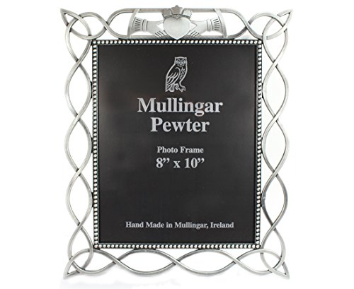 Mullingar Pewter Irish Gift for Women Claddagh Picture Frame Pewter Celtic Weave Design 8 Inches Wide x 10 Inches Tall Photograph Made in Ireland