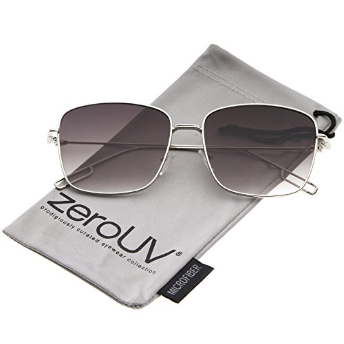 zeroUV - Minimal Wire Metal Frame Hook Temple Flat Lens Square Sunglasses 58mm (Silver / - Square Glasses Wire