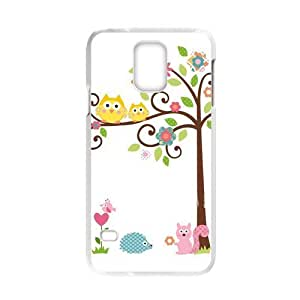 COOL phone case,For white plastic Samsung Galaxy S5 case with Cute Owls on the Trees Pattern at Run horse store