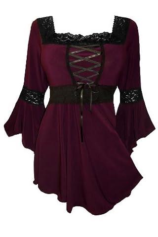 Dare To Wear Victorian Gothic Boho Plus Size Renaissance Corset Top Burgundy 2x ()