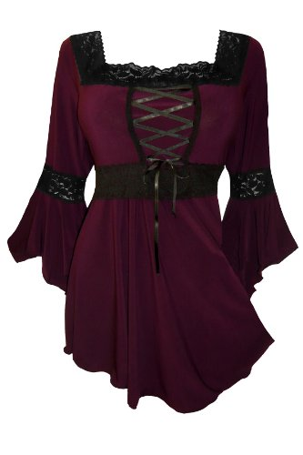 Dare to Wear Victorian Gothic Peasant Plus Size Women's Plus Size Renaissance Corset Top, Burgundy 1x (Shirt Blood Elf)