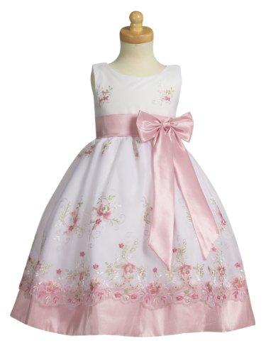 Sweá Pea & Lilli Girl's Special Occasion Organza & Taffeta Dress - Pink - (Sleeveless Taffeta Wedding Dress)