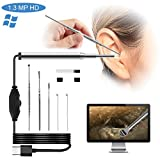 Ear Otoscope Cleaning Endoscope Camera, Waterproof 720P HD 1.3 Mega Pixel 3.9mm Small Lens Borescope Inspection Camera Otoscope Visual Earpick Tool with 6 Adjustable Led for USB