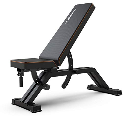 FEIERDUN Weight Bench Adjustable – Heavy-Duty Utility Workout Bench Home Gym Exercise Fitness & Flat/Incline/Decline Position