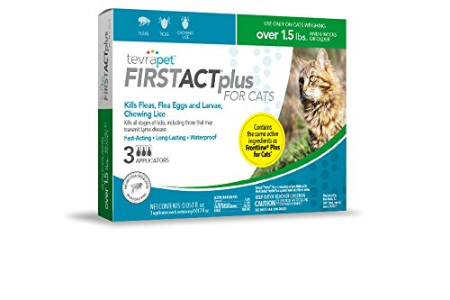 41z7Ga3JLUL - TevraPet FirstAct Plus Flea and Tick Topical for Cats over 1.5lbs, 3 Dose Flea and Tick Prevention. Waterproof Flea and Tick Control for 3 Months