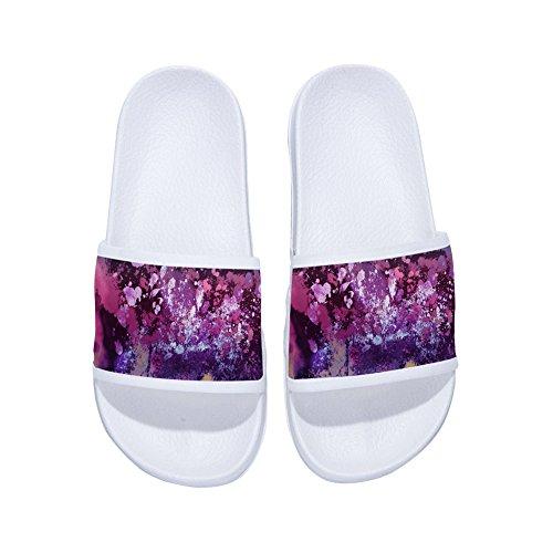 Pigmento Blanco Color Graffiti Color Morado de Secado Rápido con Antideslizantes Degradado Zapatillas para Mujer 6aZwn
