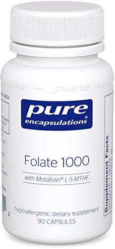 Pure Encapsulations - Folate 1000 - Hypoallergenic Supplement with Metafolin L-5-MTHF - 90 Capsules - Clearly Fiber Powder