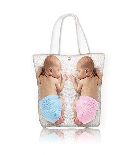 Keyed Twin Laptop Lock - Canvas Tote Bag Newborn twin babies boy and girl Zipper Closure Grocery Shopping Bag for Women Girls Students W16.5xH14xD7 INCH
