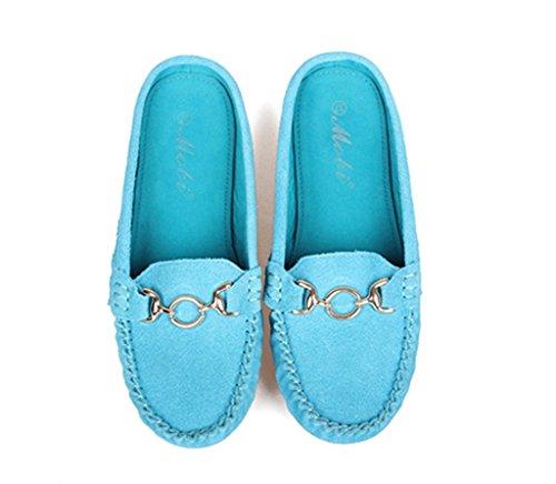 Crc Womens Fashion Bekväm Mocka Körning Vandringsled Som Kör Båt Loafers Lägenheter Flerfärgat Sol Ljusblå