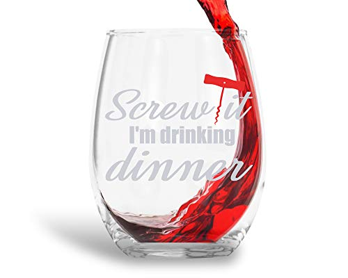 Screw It I'm Drinking Dinner Funny 15oz Crystal Stemless Wine Glass - Fun Wine Glasses with Sayings Gifts For Women, Her, Mom on Mother's Day Or Christmas