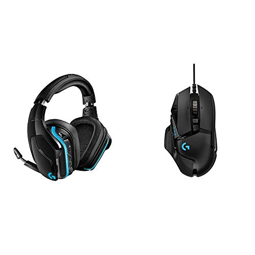 Logitech G935 Wireless DTS:X 7.1 Surround Sound LIGHTSYNC RGB PC Gaming Headset Bundle with Logitech G502 Hero High Performance Gaming Mouse