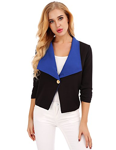 FISOUL Women Tops 3/4 Sleeves Mixed Color Casual Daily Open Front Blazer Jacket Blue XL by FISOUL