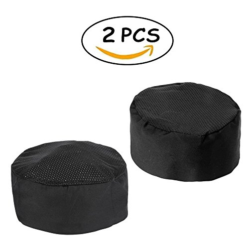 Chef Hat, 2 Pcs Hommekit Black Chef Beanie - Adjustable Velcro Chef Headwear One Size Fits Most