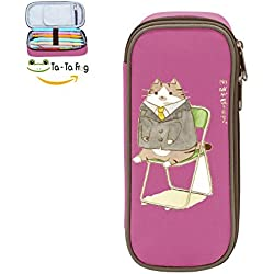 Pen Case Gentle Cat Pencil Bag Big Capacity Multifunction Canvas-Pink For Child