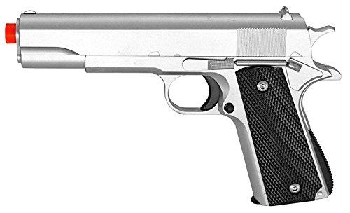 M1911 Replica Silver Finish Airsoft Spring Pistol Metal Heavy