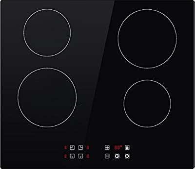 "Empava 24"" Built-in Touch Control Tempered Glass Electric Cooktop, 6000W, 220V, Black"