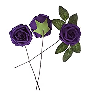 J-Rijzen Jing-Rise Artificial Flowers 30pcs Real Looking Dark Purple Fake Roses with Stem for Wedding Bouquet Bridal Shower Birthday Party Home Decorations (Purple) 3