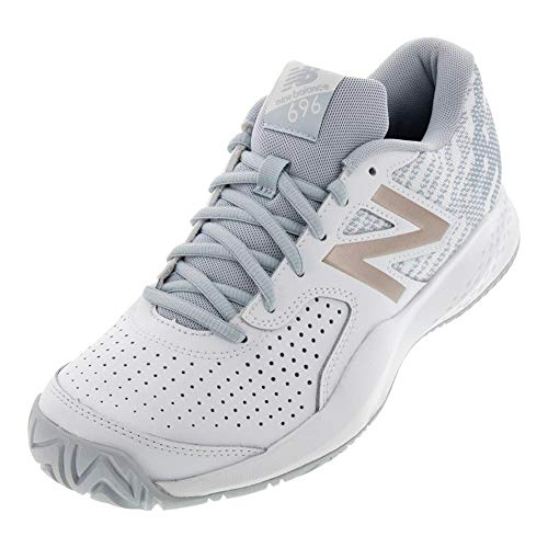 New Balance Women's 696v3 Hard Court Tennis Shoe White/Rosegold 6.5 B US