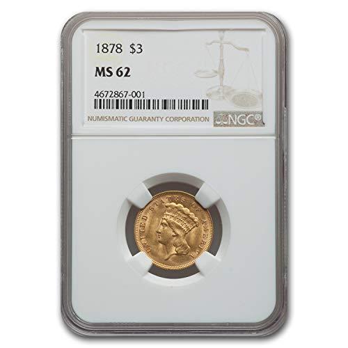 1878 $3 Gold Princess MS-62 NGC $3 MS-62 NGC