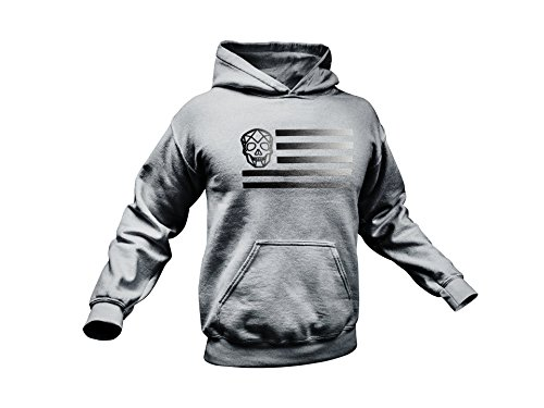Thirteen's Skull Shop Men's Military Skull American Flag Punisher Pullover Hoodie (XXXXL, Grey) Army Grey Hooded Pullover Sweatshirt
