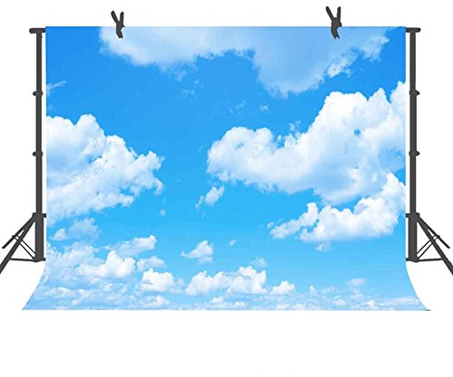 FUERMOR Background 7x5ft Blue Sky White Clouds Photography Backdrop Photo Studio Props Room Mural RQ021 by FUERMOR