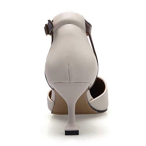 Pelle Scarpe Alti Festa Donna Sandali Shopping Punta con DKFJKI da in da Abbigliamento Cava Fibbia Quotidiano A beige Tacchi tSqw1Z