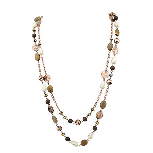 Bocar 14K Gold Plated Link Chain 2 Layer Crystal Wood Acrylic Colorful Women Party Long Necklace Gift (NK-10084-brown) ()