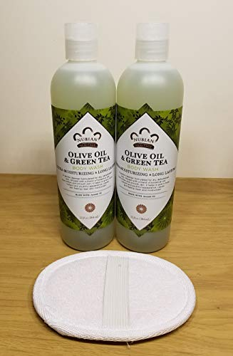Olive Oil & Green Tea Body Wash Set Long Lasting Ultra Moisturizing (2 Pack) Free Bath Luffa. 080585090197. Cleanser Soap Shampoo Conditioner Beauty Skin Softener Shea Butter Aloe cosmetics