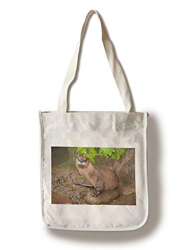 (Lantern Press River Otter on Shore (100% Cotton Tote Bag - Reusable))