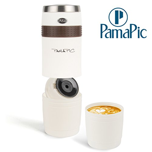 Pamapic Portable Coffee Maker, Mini Electric Espresso Machine with Reusable K-cup Coffee Filter (Ground Coffee & Capsule Compatible), Quick Coffee Machine for Travel, Home, Office 【150ML, Ivory White】