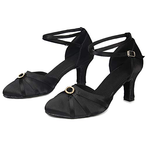 Closed 7cm UKQU516 Satin Women's Shoes Latin Shoes Black Toes Dance HIPPOSEUS Heel Ballroom Model p70qw6nv