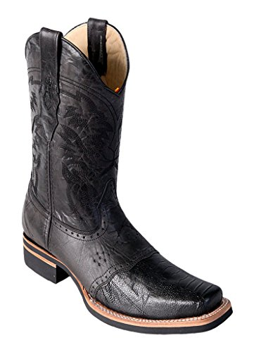 Men's Wide Square Black Genuine Leather Ostrich Leg Skin Rodeo Boots with Saddle - Genuine Ostrich Leg