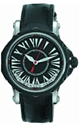 Gio Monaco Men's 671-A Hypnos Automatic Black Dial Alligator Leather Watch