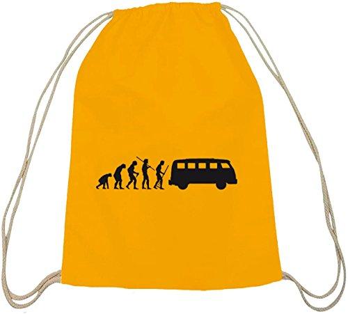 Shirtstreet24, EVOLUTION KULT BUS, Baumwoll natur Turnbeutel Rucksack Sport Beutel gelb natur