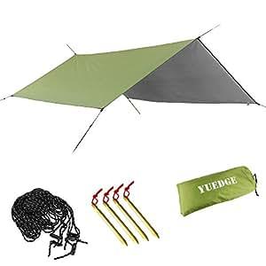 YUEDGE Portable Lightweight Waterproof Rain Tarp Rain Fly Tent Tarp Shelter Sunshade(M Army Green  sc 1 st  Amazon.com & Amazon.com : YUEDGE Easy Set Up Portable Waterproof Camping Tarp ...