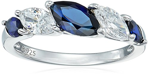 Ring Accent Sapphire (Platinum-Plated Sterling Silver Marquise Created Sapphire 5-Stone Band Swarovski Zirconia Accents Ring, Size 7)