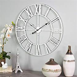 Aspire Home Accents 6688 Jemina Round Metal Wall Clock44; White