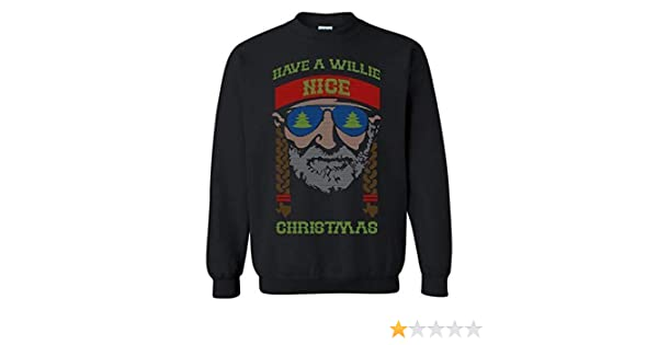 Funny Ugly Christmas Sweater Willie Nelson Have a Willie Nice Day Country Outlaw