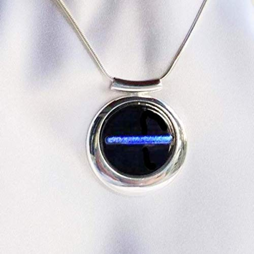 THIN BLUE LINE Police Ladies Jewelry Pendant with Necklace Dichroic Fused Glass (Dichroic Glass Fused Jewelry)