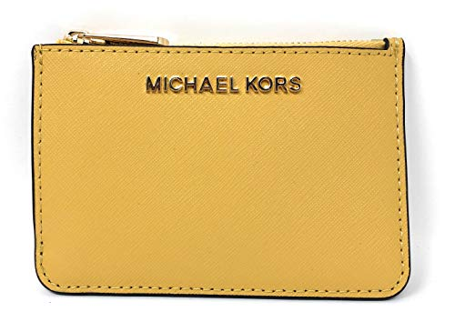 Michael Kors Jet Set Travel Small Top Zip Leather Coin Pouch ID Card Case Wallet In Dusty - Coin Yellow Case