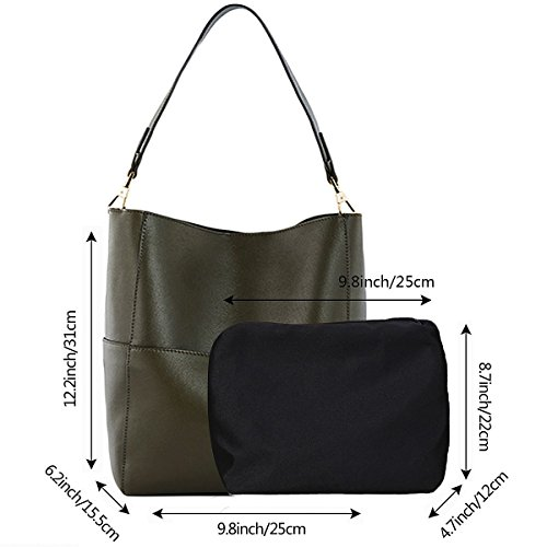 a012798a28 S-ZONE Women s Fashion Vintage Leather Tote Shoulder Bag Handbag Purse (Olive-green