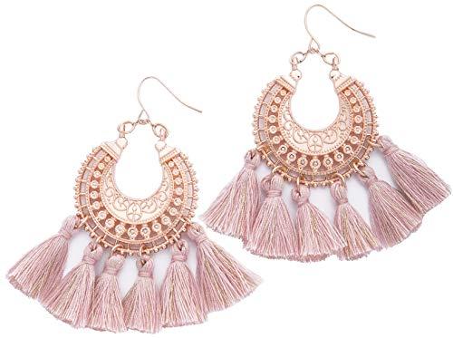(Rose Gold Tassel Earrings: Pink fringe gifts for women. Fashion drop dangle tassle earing by BLUSH & CO. (Blush) )