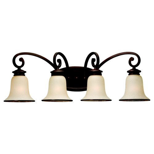 Sea Gull Lighting 44147BLE-814 Energy Star 4-Light Acadia Wall Light, Champagne Seeded Glass and Misted Bronze